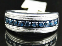 0.50Ct Round Cut Sapphire Engagement Mens Band Ring 14K Solid White Gold Finish