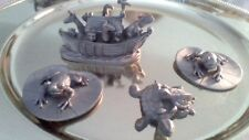 4 1980s Spoontiques Pewter Figurines- Turtles , 2 Frogs on Lily Pads, Noahs Ark
