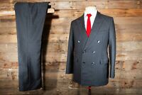 BESPOKE CANVASSED DOUBLE BREASTED SUIT 38S 38W 31L GREY STRIPED WOOL