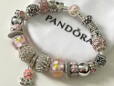 "European Style Silver Plated Charm Bracelet with Beads,7.9"" Long+VELVET POUCH"