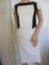 Paper Dolls Sexy Cream Bodycon Dress with Black Faux Leather Trims Size 12