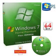 Windows 7 Home Premium 64 DVD SP1 versión completa edición instalar & código de activación