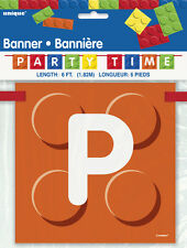 LEGO BUILDING BLOCKS PARTY TIME BANNER ~ Birthday Supplies Decorations Toys
