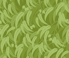 AUSTRALIANA Small Green Gumleaf Allover Fabric Sold Per 1/2 Metre 100% Cotton