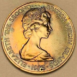 1973-FM BRITISH VIRGIN ISLANDS 25 CENTS MATTE TONED GEM BU BLUE COLOR UNC (DR)