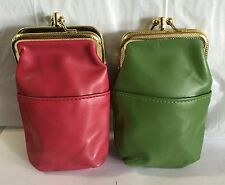 BRAND NEW LOT OF 2 FAUX LEATHER WOMEN CIGARETTE CASES PINK & GREEN