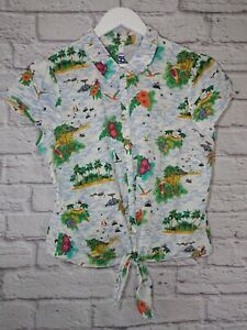 Henry Holland Island Print Blouse Size 18 Button Up Tie Front Short Sleeve Aloha