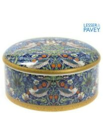Blue Strawberry Thief Fine China Trinket Box William Morris Design.