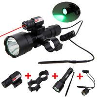5000lm LED 3 Colors Flashlight Hunting Torch Light Red Laser Gun Rife Mount Lamp