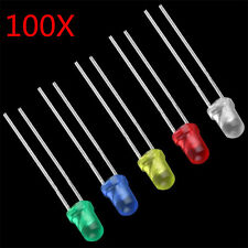 100 Lots 3mm White Green Red Blue Yellow LED Light Bulb Emitting Diode Lamps