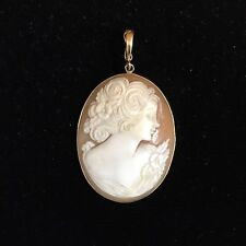 Large Cameo Pendant in 14 Karat Yellow Gold