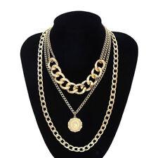 mehrschichtige halsschmuck Unisex Mode Metall Golden Anhänger Halskette Set