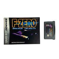 F-Zero Maximum Velocity GBA Nintendo Game Boy Advance Tested With Manual