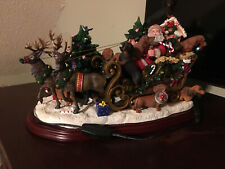 Danbury Mint Santa And Dachshunds Lighted Sleigh. Retired. Mint in original box!