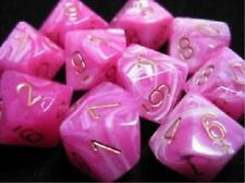 Chessex Dice 10 Die Vortex Pink with Gold Numbers d10 Dice 10 CHX 27254