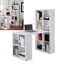White Bookshelf Desk Table Home Office Furniture L Workstation Shape  NEW