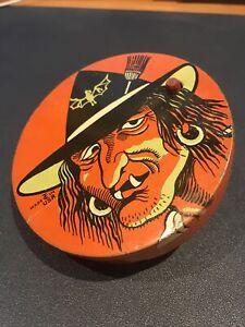 Vintage Halloween Witch Old Hag Tin T. Cohn Noisemaker