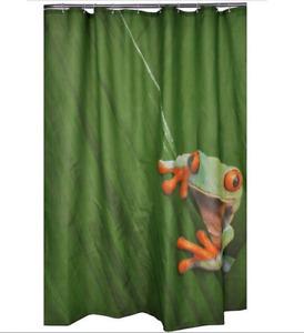 Cute Frog Cartoon Design Bathroom Waterproof Fabric Shower Curtain 72 inch