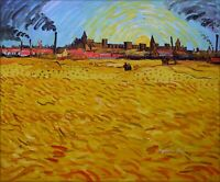 Van Gogh Wheat fields Near Arles Repro, Hand Painted Oil Painting 20x24in