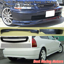 Mu-gen Style Front (PU) + CTR Rear Lip (PU) + Grill (Mesh) Fit 96-98 Civic 3dr