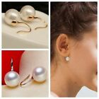 Elegant Silver/Gold Round Freshwater Pearl Drop Dangle Earrings Engagement Gift