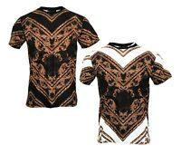 Mens Time Is Money Designer Baroque Print Fashion Urban Casual T-shirt Top T UK