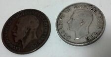 Two Great Brittian coins - 2 schillings & one penny.