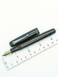 "Vtg black ""Damon Seitow"" fountain pen - f steel nib - eyedropper valve - Tokyo"