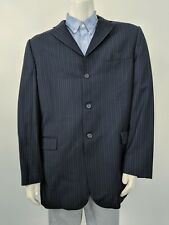 44L Burberry London Nordstrom Navy Wool Pinstripe 3-Button Dual Vent Blazer