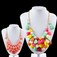 Fashion Women Chic Chain Choker Jewelry Resin Statement Necklace And Earring Set