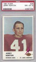 1961 Fleer football card #26 Jerry Norton, St. Louis Cardinals PSA 8 SMU alum