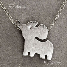 9K  9CT WHITE GOLD GF NEW CLASSIC SIMPLE BABY ELEPHANT PENDANT NECKLACE