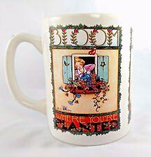 1984 MARY ENGELBREIT Coffee Tea Mug BLOOM WHERE YOU'RE PLANTED Flowers Cup ~EUC