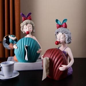 Nordic Girl Statue Tissue Box Serviettenhalter Behälter für Hotel Badezimmer