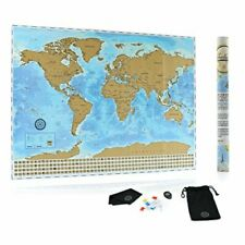 The Ultimate Scratch Off World Map Poster Bundle with US States, Country Flags