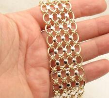 "8"" Technibond Two-Tone 4 Row Oval Bracelet 14K Yellow White Gold Clad Silver"