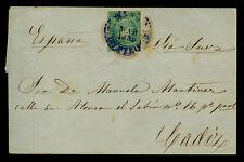 Spanish PHILIPPINES 1859 .Mar.3 ISABELLA II 1r green on beautiful cover to CADIZ