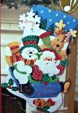 "Bucilla Santa SLEDDING FRIENDS Felt  Christmas Stocking Kit Musical~OOP New 18"""