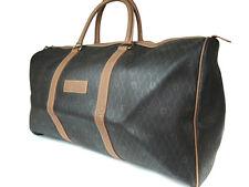 Authentic Christian Dior PVC Canvas, Leather Dark Gray Travel Bag, Boston Bag