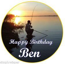 Carp fishing Personalised Sugar Icing Birthday Cake Topper Decoration Fish
