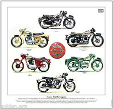 CLASSIC BSA MOTORCYCLES - FINE ART PRINT - Star Twin Rocket Gold Star Bantam B31