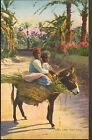 TUNISIE SOUSSE CARTE POSTALE ENFANTS & ANE CACHET 4° TIRAILLEURS-TRESORIER 1928