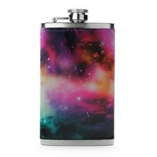 Leather Wrapped 6oz Stainless Steel Hip Flask FSK249 Nebula Stars Space