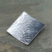 Vintage Sterling Silver Handmade Pendant, 925 hammered square