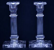 PAIR OF CLEAR VINTAGE ART DECO PRESSED GLASS CANDLESTICKS