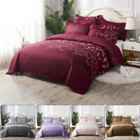 Lace Embroidered Bedding Sets Solid Color Bed Duvet Cover Bed Sheet Pillowcases