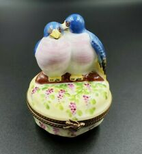 Eggs Inside! Limoges Hand Painted 280/300 Signed Two Blue Love Birds Trinket Box