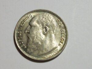 Belgium 1904- FL 1 Franc AU silver Coin
