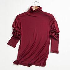 Damen 100% Seide Gestrick Langarm T Shirts Freizeit Rollkragen Tops Blusen