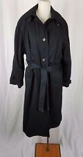 Jacqueline Ferrar Cape Top Belted Tie All Weather Trench Coat Womens 14 Black